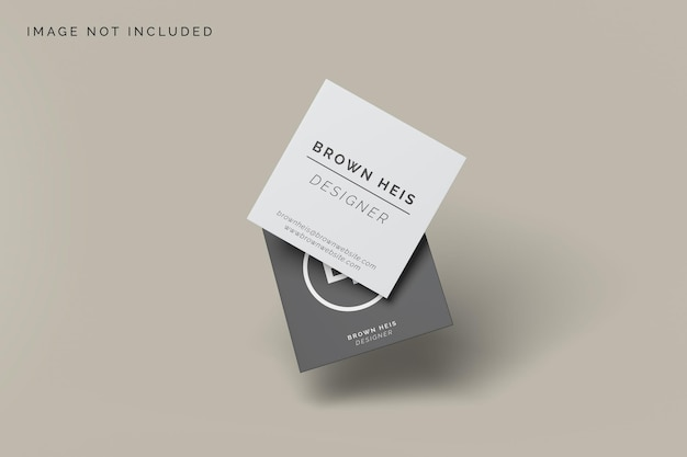 Floating square business card mockup design