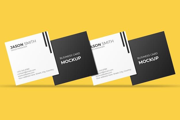 Плавающий квадратный макет визитки