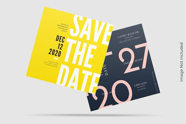 Floating square invitation mockup