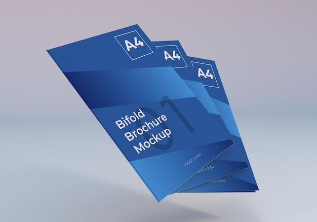 フローティングスタックa4二つ折りパンフレットモックアップ