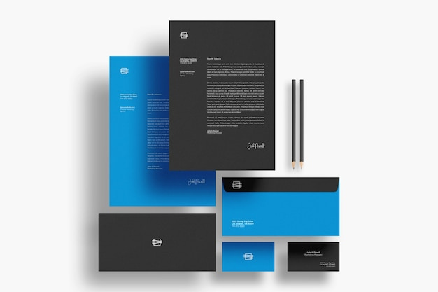 Floating stationary mockup isolated