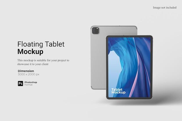 부동 태블릿 모형 3d 렌더링 절연