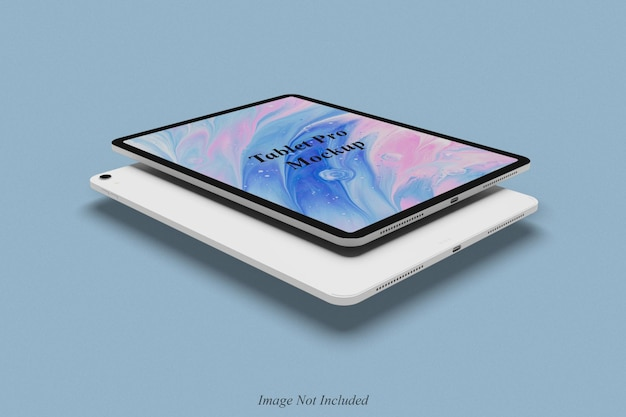 Floating tablet pro mockup design isolated