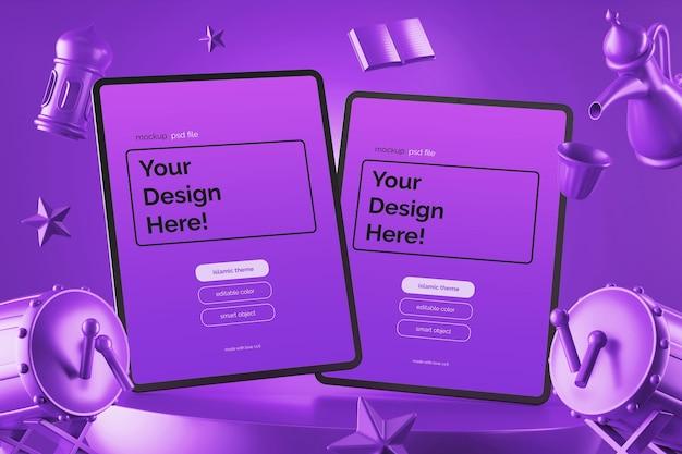 떠 다니는 태블릿 화면 모형 디자인 문화 라마단 이드 무바라크 테마