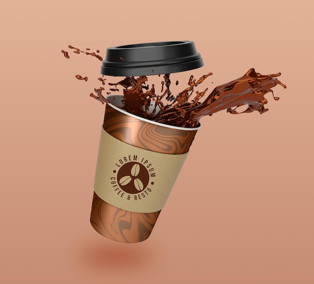 Floating take away coffee and tea paper cup mockup design
