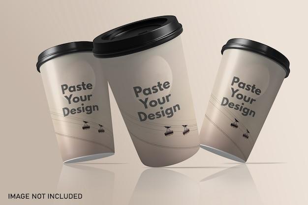 Плавающий макет бумажной кофейной чашки на вынос