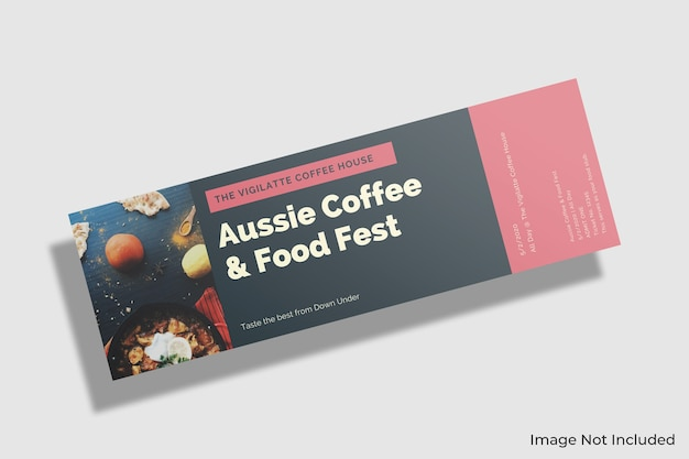 Floating ticket mockup Premium Psd