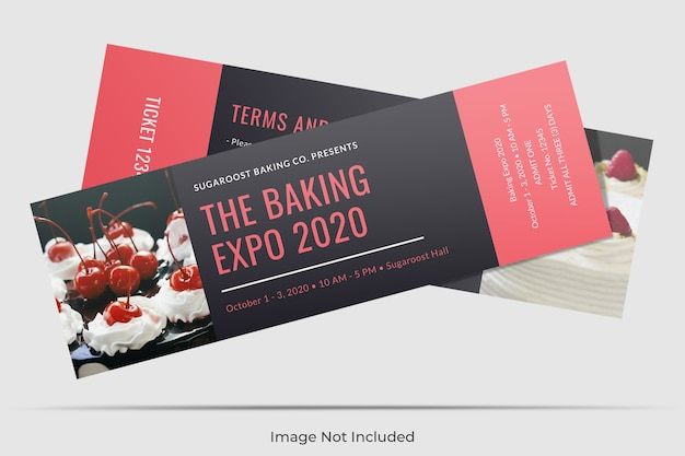 Floating ticket mockup
