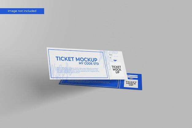 Floating ticket mockup Premium Psd