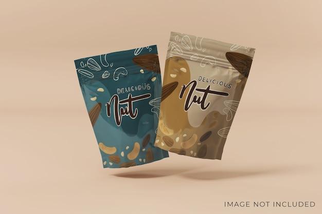 Плавающий дизайн макета упаковки для двух продуктов