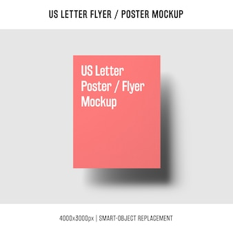 Floating us letter flyer or poster mockup