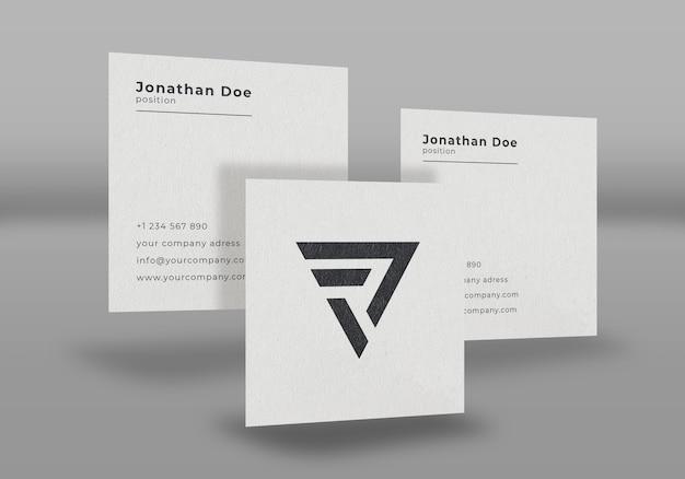 Floating white business card mockup design