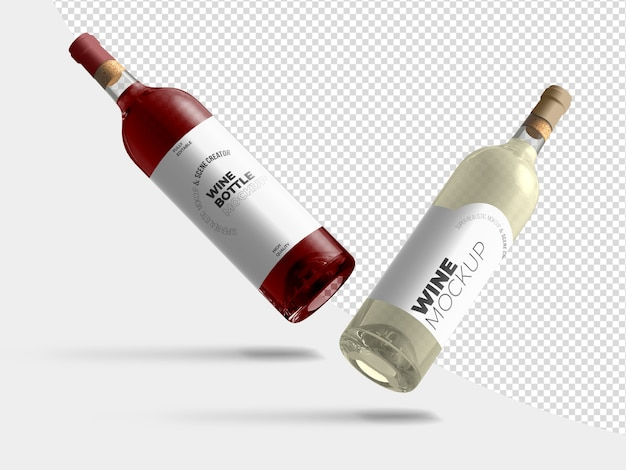 Floating wine bottles mockup template