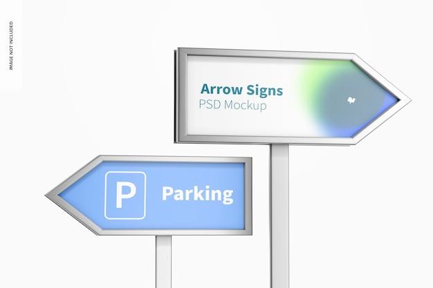 Floorstand arrow signs mockup, close up
