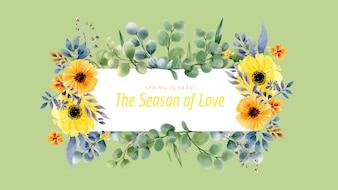 美しい春のメッセージとフローラテンプレート