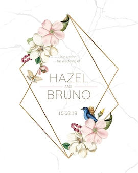 Flora wedding invitation card mockup