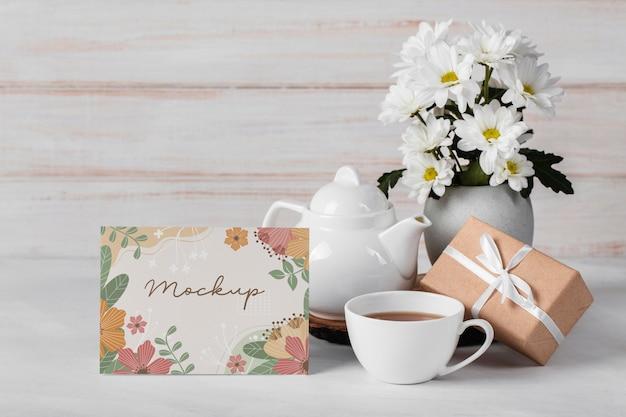 Floral arrangement with mock-up card
