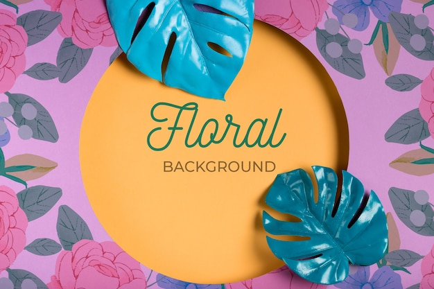 Floral background with geometric leaves