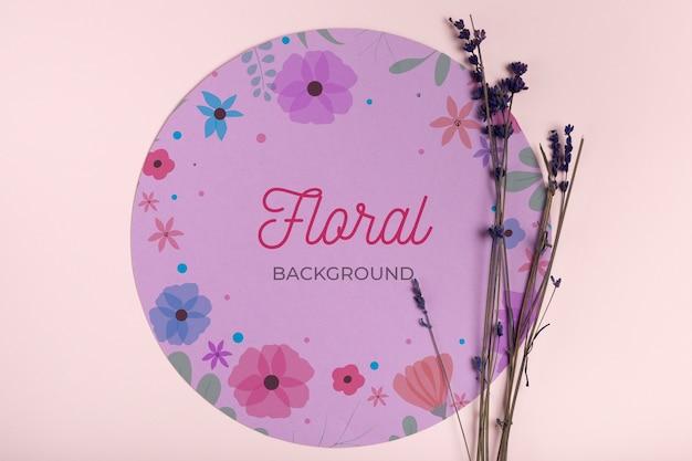ラベンダーのモックアップと花の背景