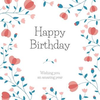 ソーシャルメディアの投稿のための花の誕生日の挨拶テンプレートpsd