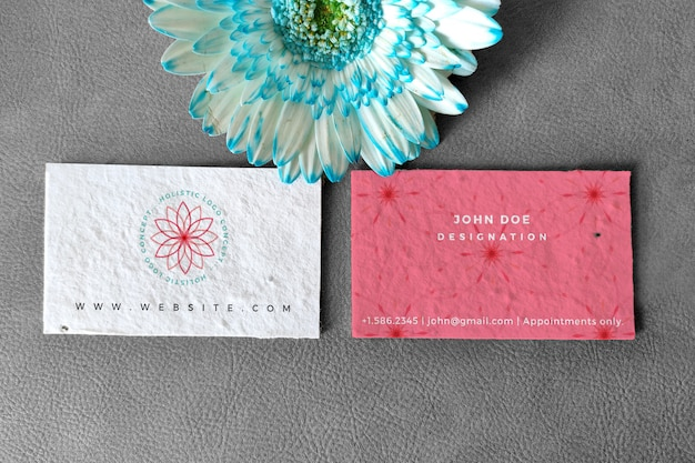 Floral business card mockup with black and white and colored background