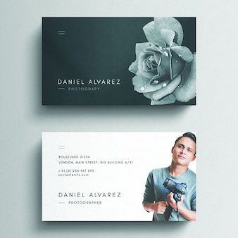 Floral business card mockup with photo