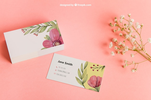 Floral business card mockup Premium Psd