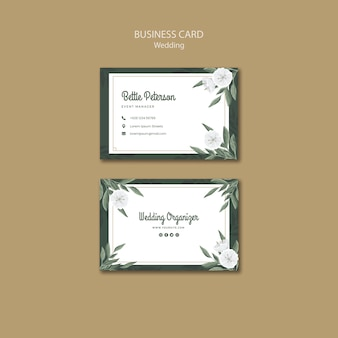 Floral business card template for wedding