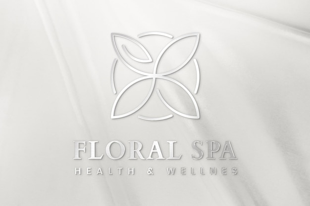 Floral business logo template psd in silver metallic font
