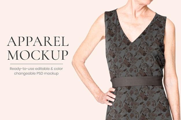 Psd макет цветочного платья для редактируемой рекламы модной одежды для пожилых людей