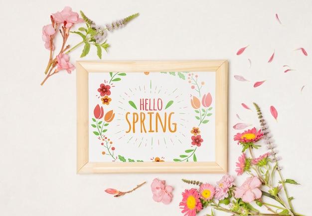 Floral frame composition for spring