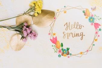 春の花のフレームモックアップ