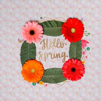 Floral frame mockup for spring