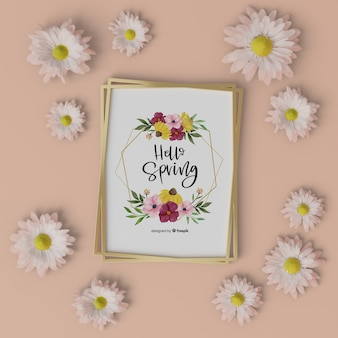 Floral frame with hello spring card
