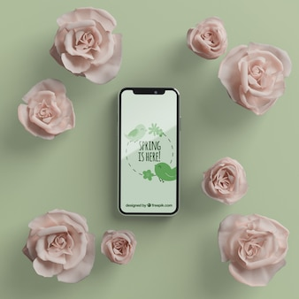 Floral frame with mobile mock-up