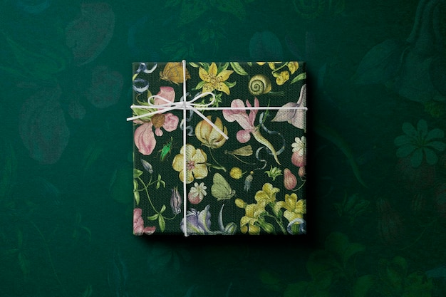Floral gift box  wrapped in vintage style