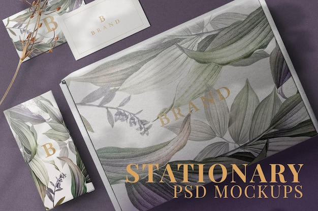 Floral kraft box mockup psd with business card product packaging