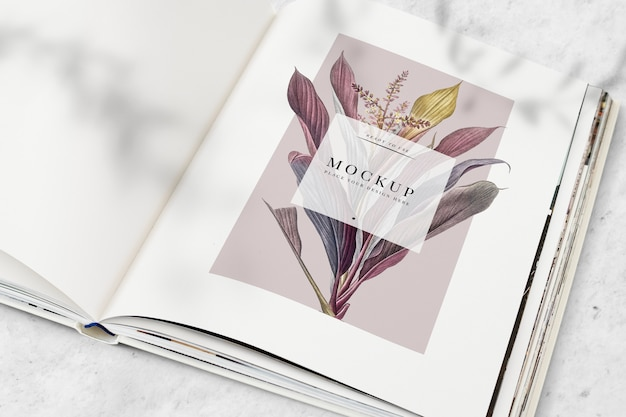 Floral magazine mockup with blank space