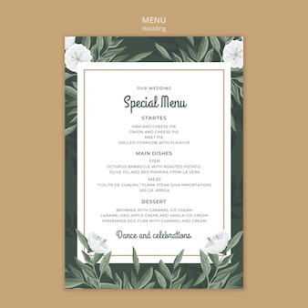 Floral menu template for wedding Free Psd