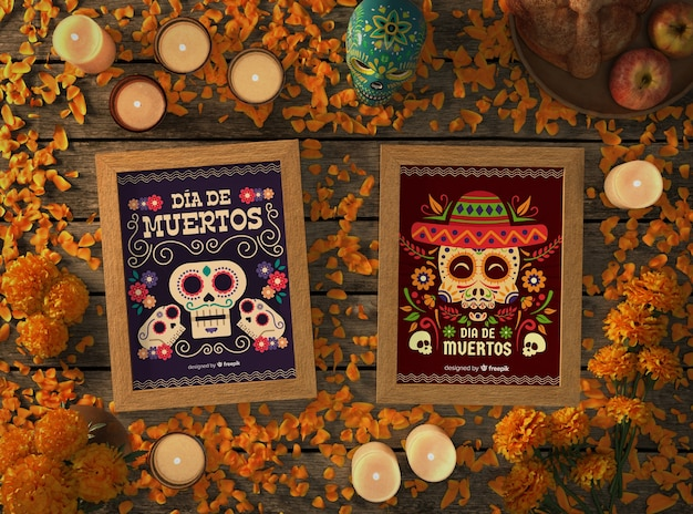 Floral mexican skull mock-ups with festive elements
