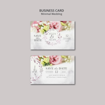 Floral minimal wedding business card