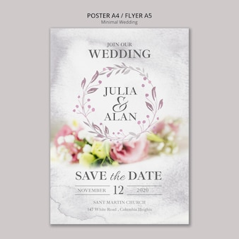 Floral minimal wedding flyer template