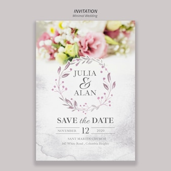 Floral minimal wedding invitation template