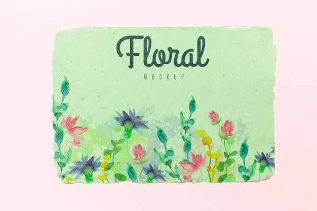 水彩画と花のモックアップ