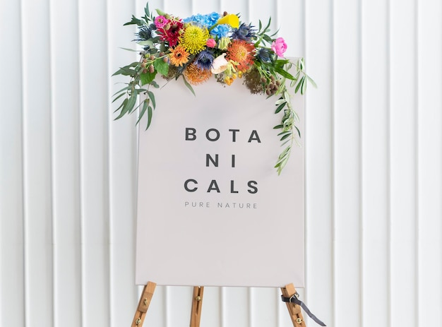 Floral painting canvas mockup on a stand