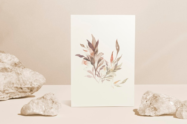 미적 스타일의 꽃 종이 편지지 이랑 psd