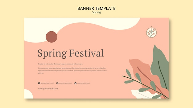Floral pink spring banner template