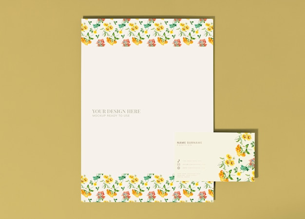 Floral poster and business card mockup