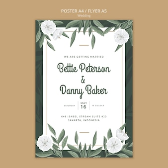 Floral poster template for wedding Free Psd