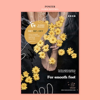 Modello di poster pubblicitario floreale spa